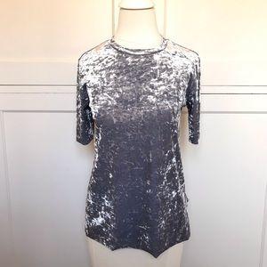 BP Gray Velvet Short Sleeve Top XS